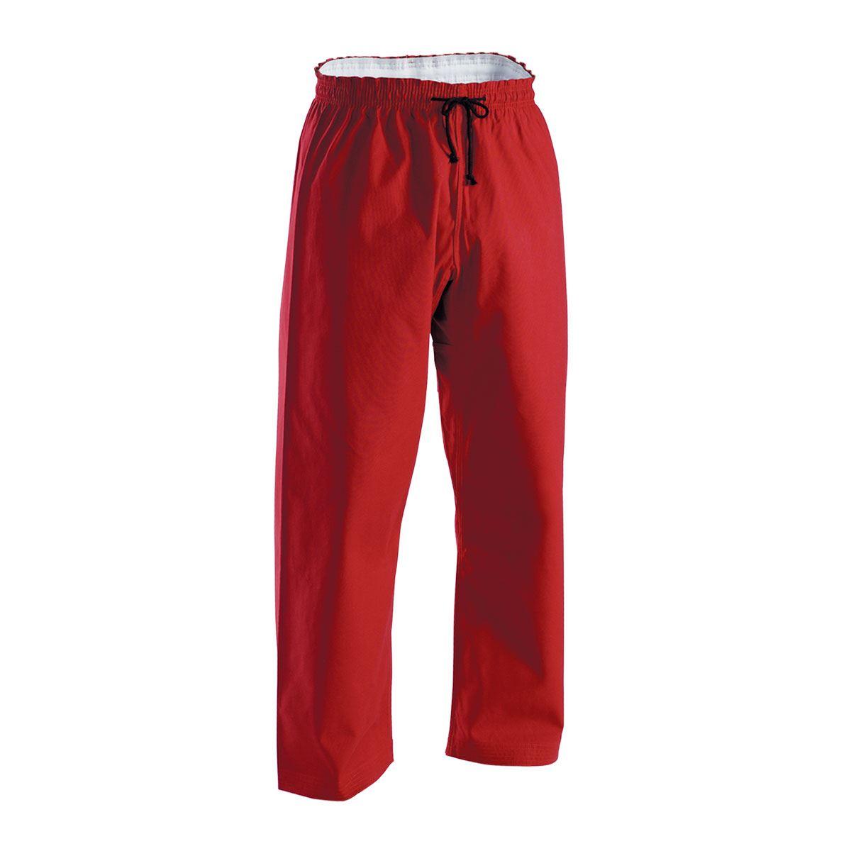 Red Brushed Cotton Elastic Waist Karate Pants