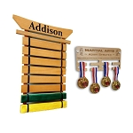 Personalized Martial Arts Belt Holder & Medal Hanger Display
