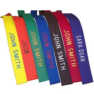 JIU-JITSU TAEKWONDO Free shipping Custom Embroidered Color belt for KARATE