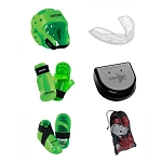 Green Martial Arts Sparring Gear Set with Bag