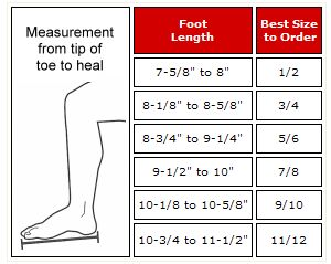 Sparring Boots Size Chart