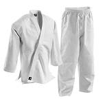 White Single Weave Student Judo Uniform with Elastic Waist