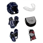 Blue Karate Sparring Gear Set with Bag