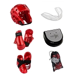 Red Karate Sparring Gear Set with Bag