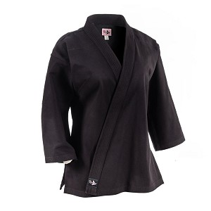 Black 10 oz. Women's Extended Length Traditional Karate Jacket
