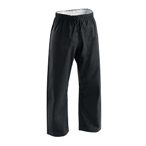 Black Brushed Cotton Elastic Waist Karate Pants - 8 oz
