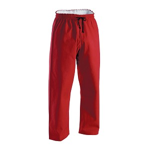 Red Brushed Cotton Elastic Waist Karate Pants - 8 oz