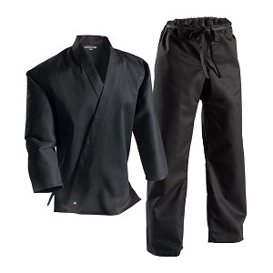 Black Middleweight Student Uniform with Drawstring Pant
