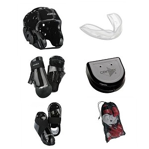 Black Karate Sparring Gear Set with Bag