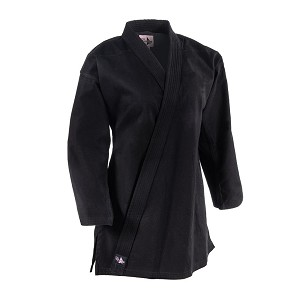 Black 8 oz Women's Extended Length Traditional Karate Jacket