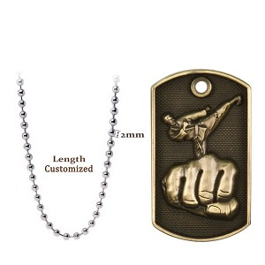 Martial Arts Dog Tag Necklace 3D Fist