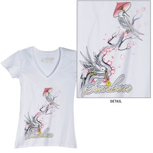 Sanbon Women's V-Neck Birds Tee