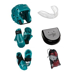 Teal Karate Sparring Gear Set with Bag