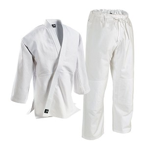 White Single Weave Student Judo Uniform Drawstring Waist