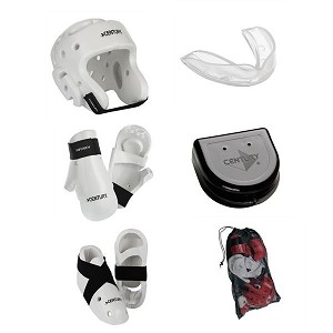White Taekwondo Sparring Gear Set with Bag